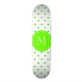 Bright Green Glitter Hearts with Monogram Skateboard Deck