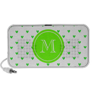 Bright Green Glitter Hearts with Monogram Mp3 Speakers