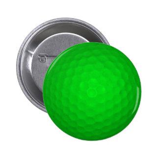 Bright Green Golf Ball 6 Cm Round Badge