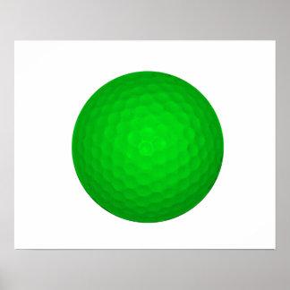 Bright Green Golf Ball Poster