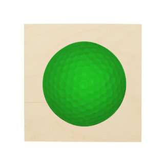 Bright Green Golf Ball Wood Print