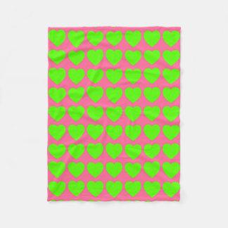 Bright Green Hearts on Pink Fleece Blanket