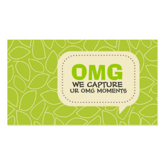 Bright Green Leaves Pattern Business Card