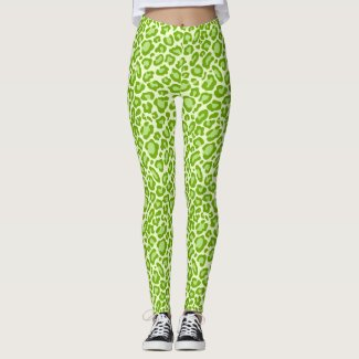 Bright Green Leopard Animal Print Leggings