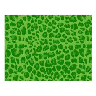 Bright green leopard print pattern postcard