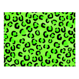 Bright Green Leopard Print Pattern Post Cards