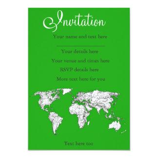 Bright green map 13 cm x 18 cm invitation card