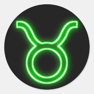 Bright Green Neon - Taurus the Bull Star Sign Classic Round Sticker
