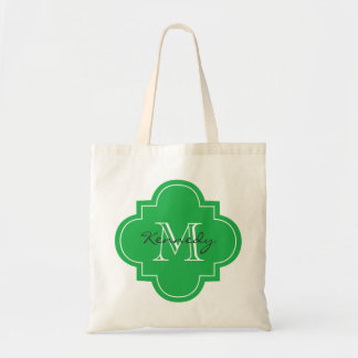 Bright Green Personalized Monogram Budget Tote Bag