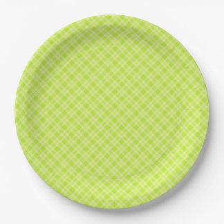 Bright green plaid paper plate