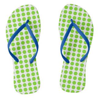 Bright Green Polkadots Flip Flops