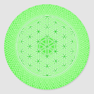 Bright Green Psychedelic Sacred Geometry Mandala Classic Round Sticker