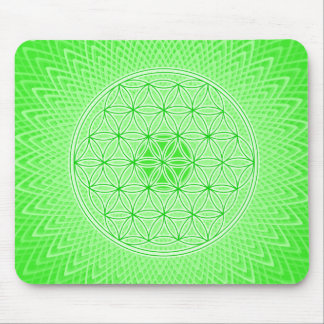 Bright Green Psychedelic Sacred Geometry Mandala Mouse Mat