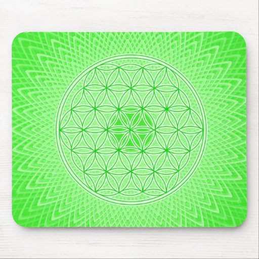 Bright Green Psychedelic Sacred Geometry Mandala Mousepads