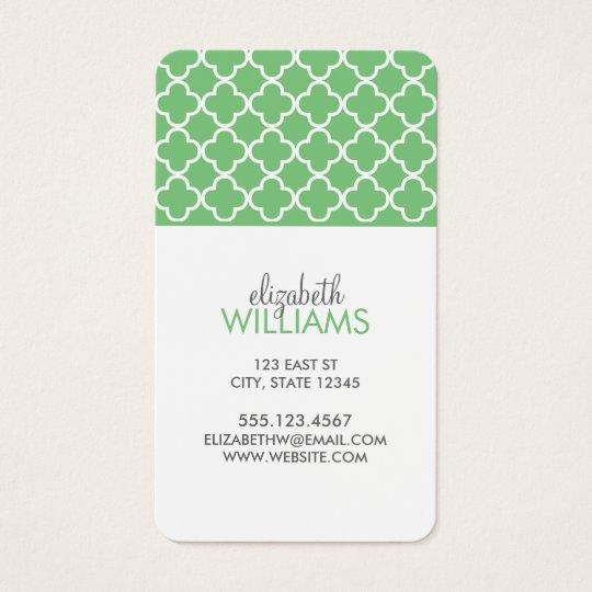 Bright Green Quatrefoil Pattern Business Card