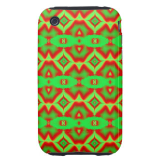 bright green red fractal pattern iPhone 3 tough case