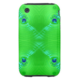 Bright green ripple 4 tough iPhone 3 cases