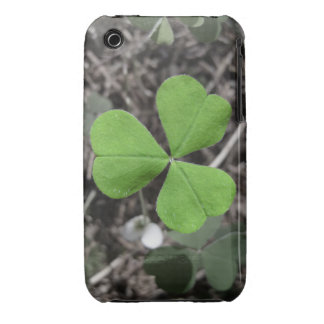 Bright Green Shamrock against Black and White Case-Mate iPhone 3 Cases