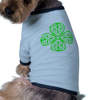 bright green shamrock celtic knot pet clothing