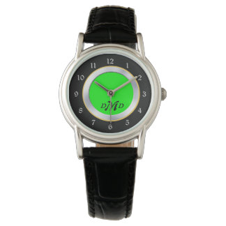 Bright Green Silver Black Monogram Watch