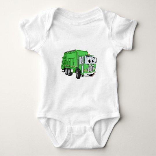 Bright Green Smiling Garbage Truck Cartoon Baby Bodysuit