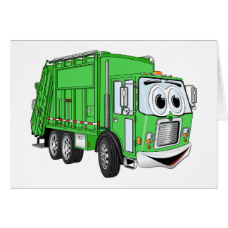 Bright Green Smiling Garbage Truck Cartoon Card