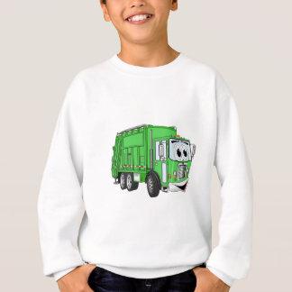 Bright Green Smiling Garbage Truck Cartoon Sweatshirt