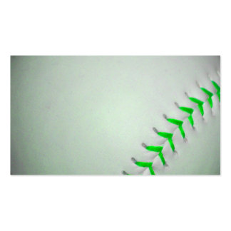 Bright Green Stitches Baseball Business Card Template