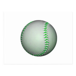 Bright Green Stitches Baseball Postcard