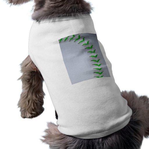 Bright Green Stitches Baseball / Softball Dog Tee