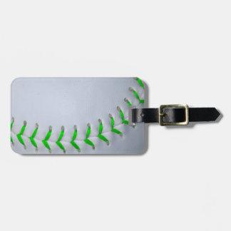 Bright Green Stitches Baseball / Softball Luggage Tag