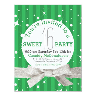 Bright Green Sweet 16 Birthday Party 4.25x5.5 Paper Invitation Card