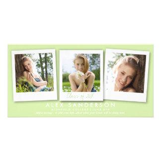 Bright Green Triple Photo Graduation Announcement Customized Photo Card