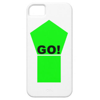 Bright green up arrow GO! text on white phone case