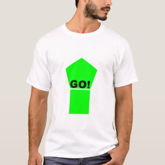 Bright green up arrow GO! text on white t-shirt