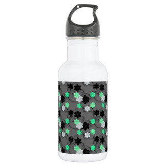 Bright Green, white and Black Floral Print 532 Ml Water Bottle