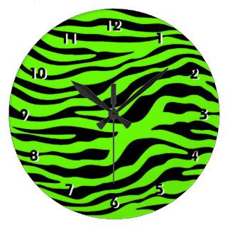 Bright Green Zebra Animal Print Large Clock