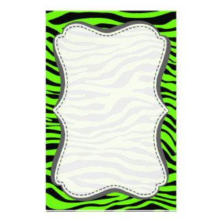 Bright Green Zebra Animal Print Stationery