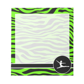 Bright Green Zebra Stripes; Ballet Notepad