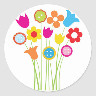 Bright greetings card with flowers and buttons round sticker