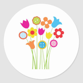 Bright greetings card with flowers and buttons round stickers