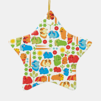 Bright Guinea Pig Patch Ceramic Star Decoration