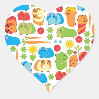 Bright Guinea Pig Patch Heart Sticker