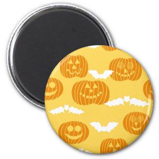 Bright Halloween Pumpkin & Bat Design Magnet