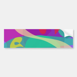 Bright Happy Abstract Purple and Green Bumper Sticker