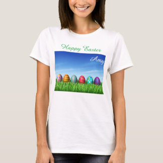 Bright Happy Easter Bunny Egg Hunt Volunteer T-Shirt