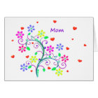 Bright Happy Easter Mum - Floral, Swirls, Hearts Card