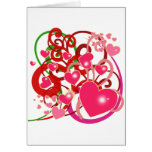 Bright Hearts and Scrolls for Lovers Greeting Cards