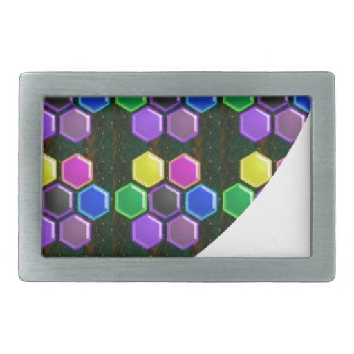 BRIGHT Hexagon Sparkle BUTTONS GoodLUCK lowprice Rectangular Belt Buckle