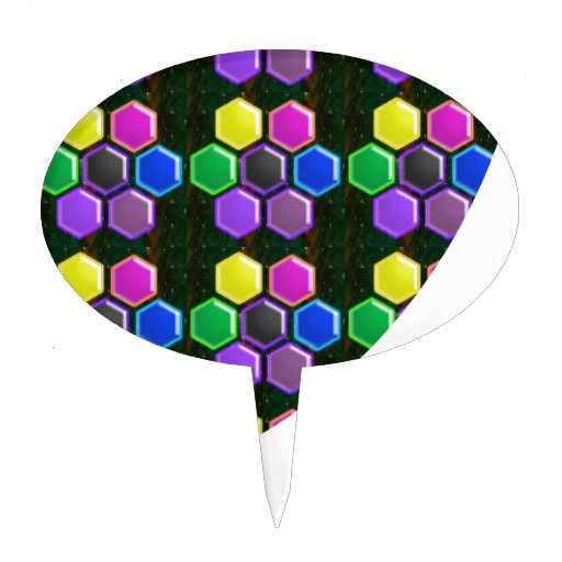 BRIGHT Hexagon Sparkle BUTTONS GoodLUCK lowprice Cake Topper